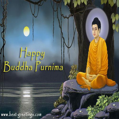 Happy Buddha Purnima Greetings Card With Name