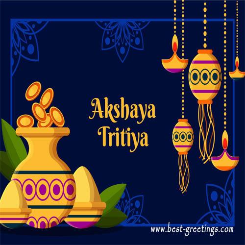 Create Akshaya Tritiya Greeting card with Name
